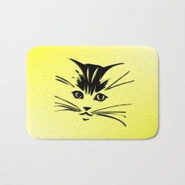 Light Cadmium Yellow Kitty Cat Face Bath Mat