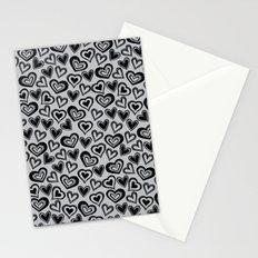 MESSY HEARTS: BLACK GRAY Stationery Cards