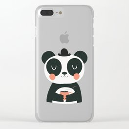 Panda Loves Coffee Clear iPhone Case
