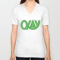 okay V-neck T-shirts featuring OKAY by Josh LaFayette
