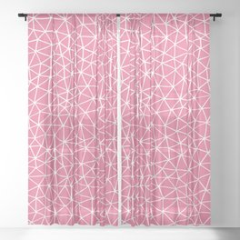 Connectivity - White on Pink Sheer Curtain