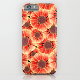 Sneezeweed / Helenium Flower, Floral Watercolor Pattern in Red, Yellow and Black  iPhone Case