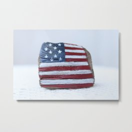 america flag, usa flag on driftwood, nautical, vintage american flag Metal Print
