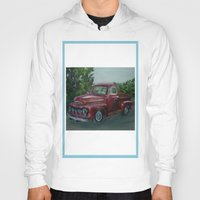 truck Hoodies featuring Pickup truck by spiderdave7