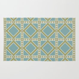 Teal and Moss Green Pattern Rug