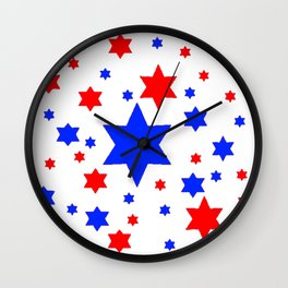 4TH RED & WHITE & BLUE STARS  DESIGN Wall Clock