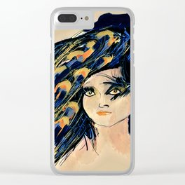Peacock Girl Variation 1 Clear iPhone Case