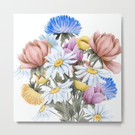 Summer Floral Watercolour Bouquet Metal Print