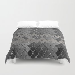 Mermaid Scales Silver Gray Glam #1 #shiny #decor #art #society6 Duvet Cover