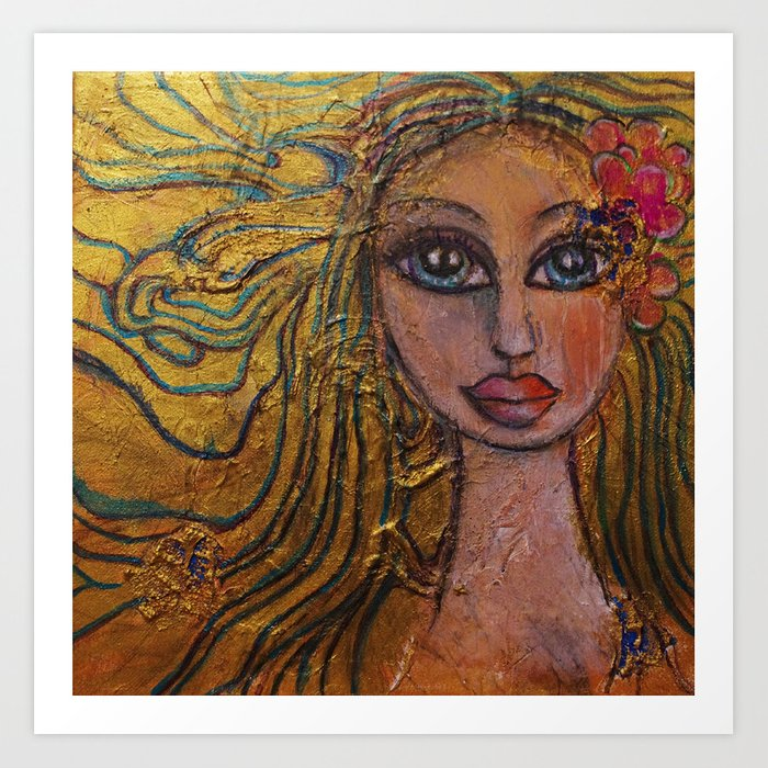 Golden Dawn Big Eyed Girl Female Portrait Painting by Garden Of Delights Art Print
