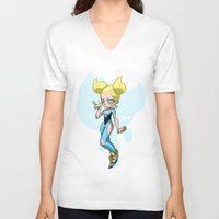 powerpuff girls V-neck T-shirts featuring Bubbles - The Powerpuff Girls by zeoarts