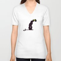 acid V-neck T-shirts featuring Acid Panther by Anya McNaughton