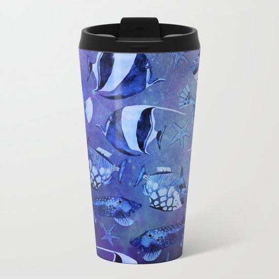 Watercolor fish pattern dark blue Metal Travel Mug