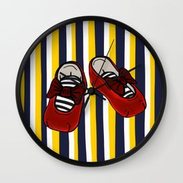 Ruby Slippers on vertical Navy and yellow stripes Wall Clock
