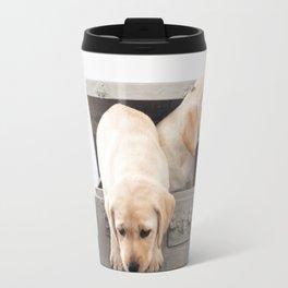 Labrador Puppies in a suitcase Travel Mug