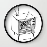 tv Wall Clocks featuring TV by Addison Karl