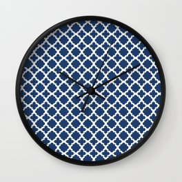 Lattice Navy on White Wall Clock