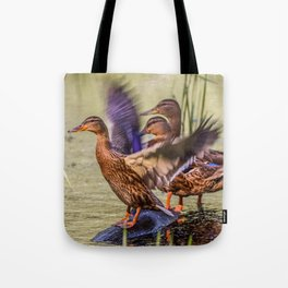Ducks Flapping Tote Bag