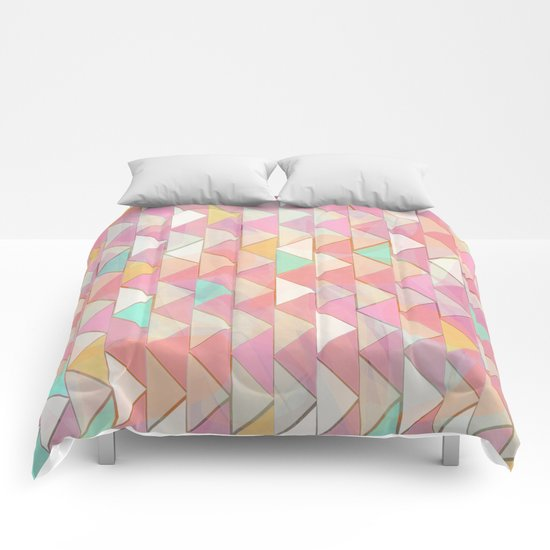 Pale Playful Chevron (8) Comforters