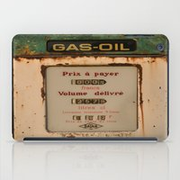 pocket fuel iPad Cases featuring old pump fuel by frenchtoy