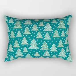 Winter design with mosaic forest in the snow Rectangular Pillow