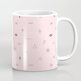 Southwestern Symbolic Pattern in Pale Pink & Charcoal Coffee Mug