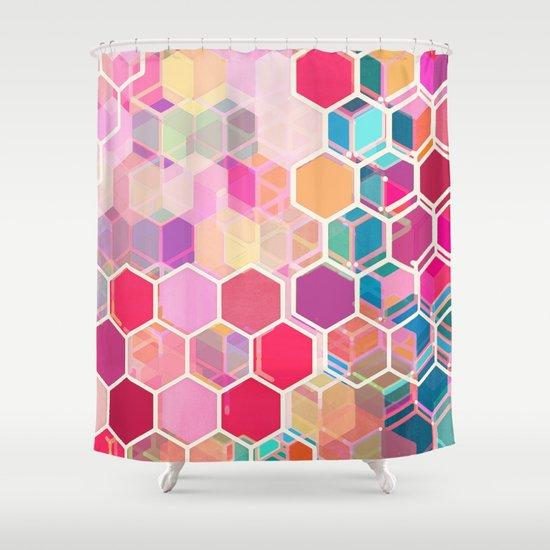 Rainbow Honeycomb - colorful hexagon pattern Shower Curtain