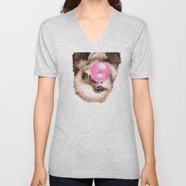 Baby Sloth Playing Bubble Gum Unisex V-Neck