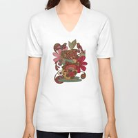 good morning V-neck T-shirts featuring Good Morning by Valentina Harper