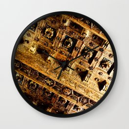 Roman Gold and Brown Warm Architectural Ceiling Art Wall Clock