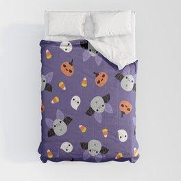 Purple Kawaii Halloween Bat Pattern Comforters