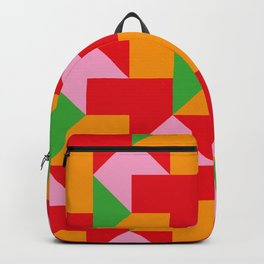 Green red Orange pink coloured mosaic with edges and squares and rectangular shapes and others Backpack
