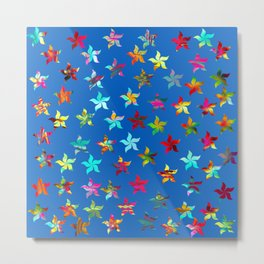 Colorful Pinwheels on Blue Background Metal Print