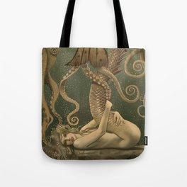 """""""Mermaid & Octopus No. 4"""" by David Delamare (No Border) Tote Bag"""