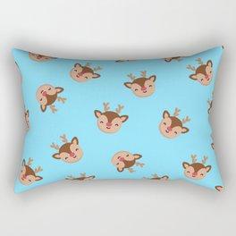 Blue Rudolf Reindeer Rectangular Pillow
