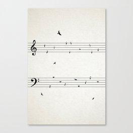 Music Score with Birds Canvas Print
