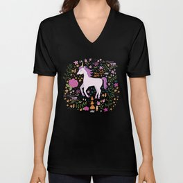 Be Magical Unicorn Pattern in a Garden Unisex V-Neck