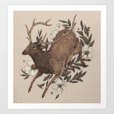 Floral Elk Art Print