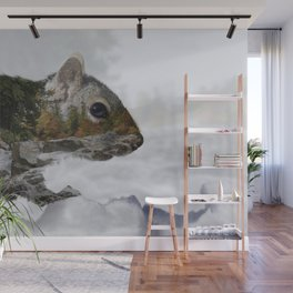 Waterfall Squirrel Wall Mural