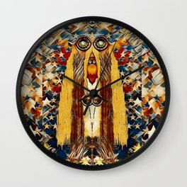 Lady Panda goes into the starry gothic night Wall Clock