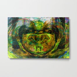 Chaos Face- Mustard Yellow Metal Print