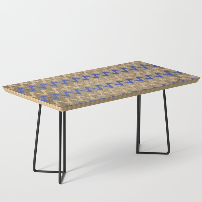 Blue and Tan Zigzag Stripes on Grungy Brown Burlap Graphic Design Coffee Table