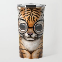 Cute Baby Tiger Cub Wearing Eye Glasses on Yellow Travel Mug