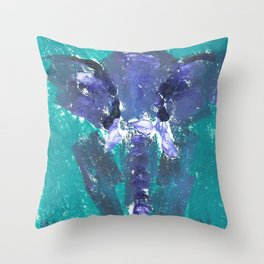 Abstract Elephant Grey and Turquoise Throw Pillow