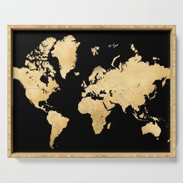 Sleek black and gold world map Serving Tray