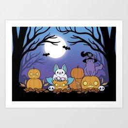 Pumpkin Patch at Night Art Print