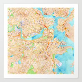 Boston watercolor map XL version Art Print