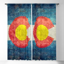 Colorado flag with Grungy Textures Blackout Curtain