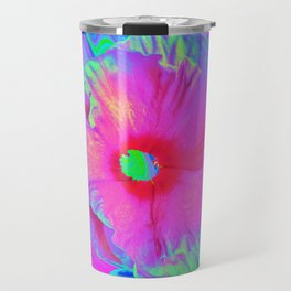 Psychedelic Pink and Red Hibiscus Flower Travel Mug