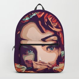Flower girl with amazing blue eyes in popart style Backpack